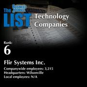6: Flir Systems Inc.  The full list of regional technology companies – including contact information – is available to PBJ subscribers.  Not a subscriber? Sign up for a free 4-week trial subscription to view this list and more today >>