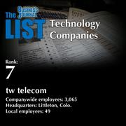 7: tw telecom  The full list of regional technology companies – including contact information – is available to PBJ subscribers.  Not a subscriber? Sign up for a free 4-week trial subscription to view this list and more today >>