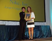 Nike's Kathy Webb, with Business Journal events manager Stephanie Torres.