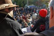 About 75 Occupy Portland protesters attend the group's general assembly meeting outside Portland City Hall on Thursday. Another 200 or so onlookers gathered to support speakers — who used a bullhorn and were given about two minutes to offer suggestions — as news helicopters hovered overhead.