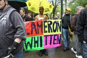 Mayoral candidate Cameron Whitten joins the Occupy May Day march.