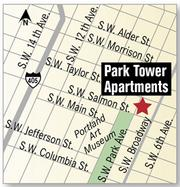 The Park Tower Apartments are located along Portland's downtown Park Blocks.