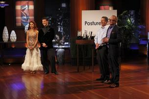 """Dancing with the Stars"" husband and wife team Anna Trebunskaya and Jonathan Roberts demonstrated PostureNOW during Mike Lane's and Matt Franklin's (far right) appearance on ""Shark Tank."""