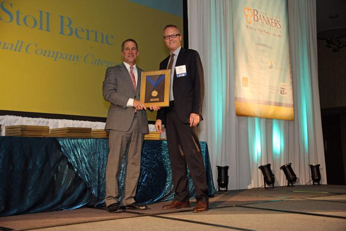 Timothy DeJong, with Business Journal Publisher Craig Wessel, is a shareholder with Stoll Berne.