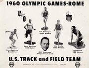 The 1960 Oregon Olympic athletes: Dave Edstrom, Dyrol Burleson, Bill Dellinger, Jim Grelle, Otis Davis and their coach Bill Bowerman.