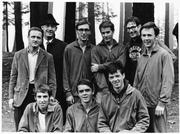 The 1969 University of Oregon cross country team. From left to right, back row: Coach Bill Dellinger, Coach Bill Bowerman, Mike Lyons, Mike McClendon, Norm Trerise and Terry Dooley. Front row: Tom Morrow, Steve Prefontaine and Steve Savage.