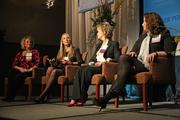 From left, Mindy Harter of Leatherman Tool Group, Laura Christiansen of Vtech Communications, Denise Macrigeanis of Waggener Edstrom Worldwide and Michelle Willis of David Evans and Associates talk HR issues on the panel.