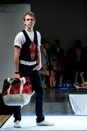 A Cornell student modeling a Pendleton-inspired look in the 2011 Cornell Fashion Collective's Annual Fashion Show.