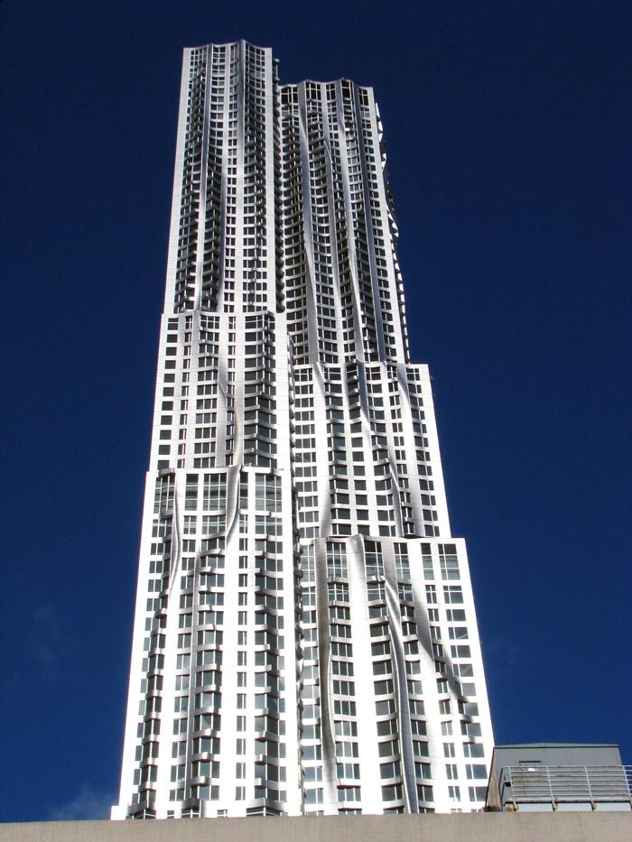 The Frank Gehry-designed 8 Spruce Street building in New York City was the 2011 top skyscraper in the Emporis Skyscraper design competition.