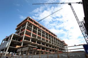 Construction on Collaborative Life Sciences Building will top off later this month.