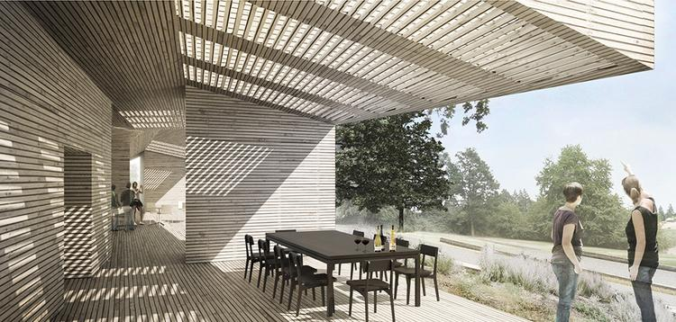 An architectural rendering of the new Sokol Blosser Winery tasting room showing the terrace and view.