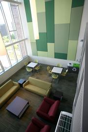 A lounge at University Point, Portland State University's new 980-bed student residence.