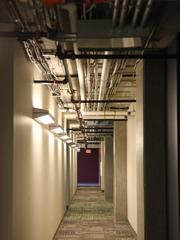 University Pointe is designed to meet the U.S. Green Building Council's LEED Gold criteria. Above, mechanical systems are exposed.
