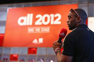 "U.S. sprinter Tyson Gay talks Wednesday about his expectations for his upcoming races at the 2012 London Games from the Adidas AG media lounge in London. Adidas CEO Herbert Hainer expects the games to ""inspire a generation to get into sport."""