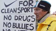 10/17/2012: Former Armstrong teammate: Nike decision something to celebratePaul Willerton, a former cycling teammate of Lance Armstrong, protested at Nike's Beaverton campus to remove Armstrongs name from a company building.