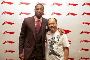 Miami Heat star Dwyane Wade signed with Chinese footwear and apparel brand Li-Ning in October. He's shown here with the brand's founder, chairman and namesake, Li Ning.