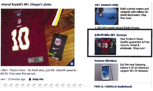 Krystal's NFL Shoppe, a licensed National Football League apparel retailer in Albuquerque, N.M., in its class-action lawsuit against Facebook says ads for what it says are counterfeit NFL jerseys began popping up on its own Facebook page.