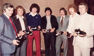 "Former Portland Timber Mick Hoban (third from right) is shown here as Nike's soccer promotions manager in 1980 in Birmingham, England, with a group of former goalkeepers who played in both the United Kingdom and the North American Soccer League. ""It is proof positive that Nike was active in the game of soccer from 1978 onwards,"" Hoban said.  Pictured left to right: Tony Penman (Nike Soccer consultant in U.K.), Colin Boulton (Derby County FC and Tulsa Roughnecks), Phil Parkes (Wolverhampton Wanderers and Vancouver Whitecaps), Kevin Keelan (Norwich City FC, New England Tea Men), Hoban, Mike Mahoney (Newcastle United FC & California Surf) and Alex Stepney (Chelsea, Manchester United and Dallas Tornado)."
