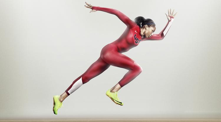Olympic gold medalist Allyson Felix displays the new Nike Pro TurboSpeed running suit. Wind tunnel tests showed the suit is 0.23 seconds faster across 100 meters than the Nike suits used in the 2008 Beijing games.