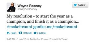 "This tweet from Manchester United star Wayne Rooney was part of Nike Inc.'s ""Make It Count"" marketing campaign. But Britain's Advertising Standards Authority ruled that it wasn't clearly identifiable as an ad and ordered it removed."