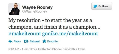 """This tweet from Manchester United star Wayne Rooney was part of Nike Inc.'s """"Make It Count"""" marketing campaign. But Britain's Advertising Standards Authority ruled that it wasn't clearly identifiable as an ad and ordered it removed."""