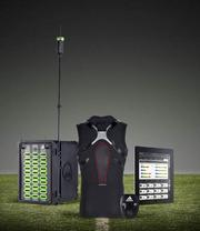 The data cell in the players' base layer appparel connected by a series of electrodes and sensors woven into the fabric of the shirt. The cell wirelessly transmits more than 200 pieces of data each second to a central computer, which is then displayed on an iPad where the coach can monitor the workload of individual players.