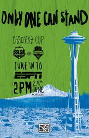 Major League Soccer is highlighting the Cascadia Cup rivalry with this poster aimed at Seattle Sounders' fans.