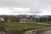 Intel Corp.'s Ronler Acres campus, which has construction of its own underway, provides the backdrop for the Hillsboro Hops stadium.