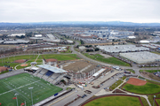 This aerial view shows the progress on construction of the Hillsboro Hops new stadium.