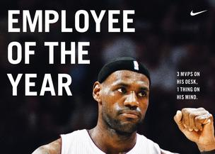 A new Nike Inc. ad celebrates LeBron James' third NBA MVP by calling him 'Employee of the Year.