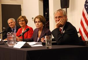 U.S. Reps. Suzanne Bonamici and Earl Blumenauer, Oregon Democrats, hosted House Minority Leader Nancy Pelosi (second from right) Tuesday at Portland startup Urban Airship to discuss how the federal government can help grow the technology sector. At left is Mike Herrick, Urban Airship's senior vice president of engineering.