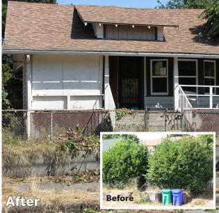 Bank of America sent a maintenance crew to this blighted Portland home after inquiries from the Business Journal.