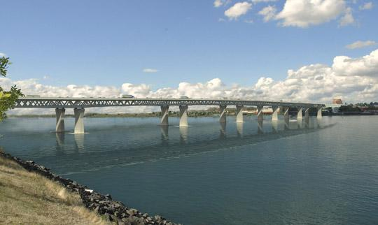 Gov. John Kitzhaber's budget includes funding for the Columbia River Crossing.
