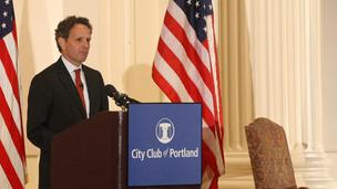 U.S. Treasury Secretary Tim Geithner spoke Wednesday at the City Club.