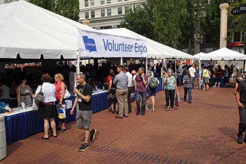More than 3,000 people converged upon 125 nonprofits Thursday at The Standard's annual Volunteer Expo at Pioneer Courthouse Square.