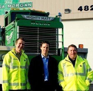From left, Omega Morgan CEO John McCalla, Riverlake Partners Vice President Greg Tansey and Omega Vice President Jeff Morgan.