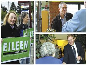 Portland mayoral candidates Eileen Brady, above, Charlie Hales, top right, and Jefferson Smith reach out to voters.