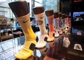 Nike dominates the increasingly lucrative athletic sock market.