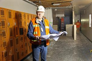 P&C's Gene Beatty is part of the team working at Newberg High School.