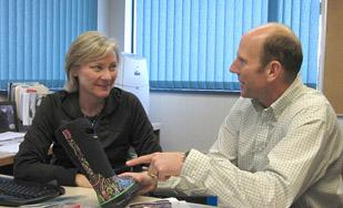 Sue Combs, left, manager of design and development, and husband Bill Combs eye new markets.