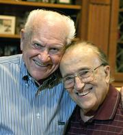 Developer Joe Benvenuti, seen with fellow developer and friend Buzz Oates, is remembered as an icon who significantly shaped the capital region and brought the Sacramento Kings to town. Benvenuti died Wednesday at age 91.  This image was taken in 2011 to accompany a profile of Benvenuti and Buzz Oates.