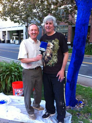 With Ray Tretheway, executive director of the Sacramento Tree Foundation, isartist Konstantin Dimopoulos, the man behind Sacramento's blue trees.