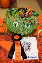 """Finalist--This was my personal favorite for the """"Most creative"""" category. Created by workers at Diepenbrock Elkin LLP, 500 Capitol Mall, it depicts a pumpkinized Medusa, the mythical monster who turned those who beheld her into stone."""