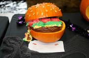 """Finalist--""""Pumpkin Burger,"""" another entry in the 2012 Capitol Mall pumpkin-carving competition."""