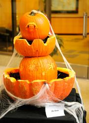 """Finalist--A pumpkin """"blood fountain"""" was among finalists in the 2012 Capitol Mall pumpkin-carving competition. It was created by workers at Britannia Pacific Properties, 621 Capitol Mall."""