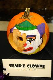 """Finalist--""""Scair E. Clowne,"""" another entry in the 2012 Capitol Mall pumpkin-carving competition, was created by workers at Sjoberg Evashenk Consulting, 455 Capitol Mall. This was one of my favorites in the """"Most scary"""" category."""