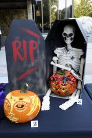 """Grand Prize Winner -- """"RIP"""" by Blossom Dunng of Bank of America, 555 Capitol Mall. This was a fantastically detailed creation that included """"guts"""" made with pumpkin seeds and red dye."""