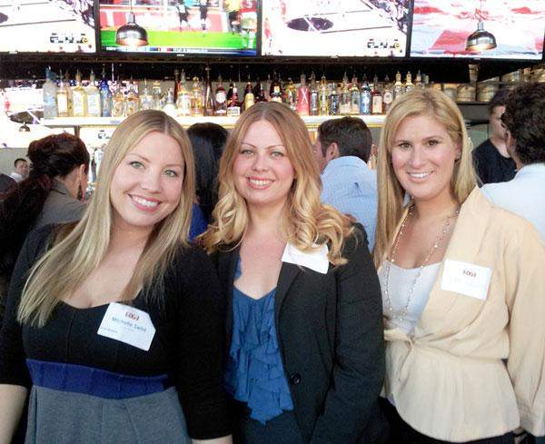 """Michelle Swint, Angela Martinez and Jamie Cowden at """"In the Mix,"""" a Metro Edge event held May 15 at the new Firestone Public House, 16th & L streets."""