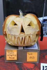 Runner-up -- Maybe this should have won for most scary: A horrifying faceless pumpkin crafted by Felderstein Fitzgerald Willoughby & Pascuzzi, 400 Capitol Mall.