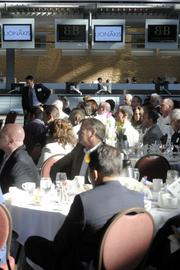 People attend the Business Journal's Structures panel at the new Sacramento International Airport Terminal B.